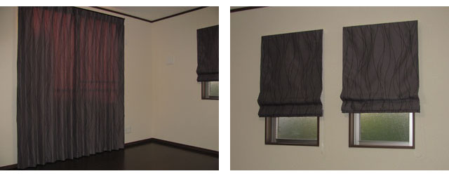さいたま市N様邸のリビング&寝室【ミッドセンチュリー】のオーダーカーテンの施工例