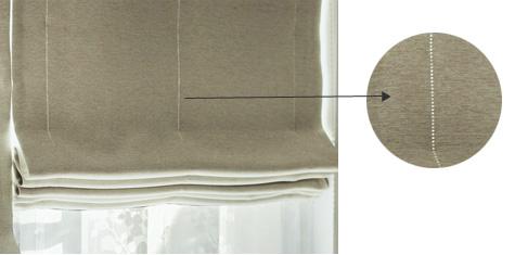 遮光生地のシェードの縫い目の光漏れ